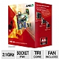 AMD A6-Series AD3500OJGXBOX Triple-Core A6-3500 APU - 3MB L2 Cache, 2.1GHz (2.4GHz Max Turbo), Socket FM1, Radeon HD 6530D (320 Cores), Dual Graphics Ready, DirectX 11, 65W, Fan, Retail