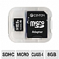 Centon 8GBRSDHC4 Micro SDHC Memory Card - 8GB, Class 4, 4MB/s Read, 4MB/s Write, 3.3V, Black