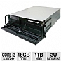 CybertronPC Quantum TSVQJA1222 3U Rackmount Server - Intel Core i3-2120 3.30GHz, 16GB DDR3, 1TB HDD, Gigabit LAN, DVDRW, No OS