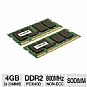 Crucial CT2KIT25664AC800 4GB Dual Channel Laptop Memory Module Kit - DDR2, 800MHz SODIMM, PC6400, Cas Latency 6, 1.8V