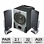 "Cyber Acoustics CA-3550 2.1 Speakers - 2.1 Channels, 32 Watts RMS, 2.5"" High Efficiency Drivers, 20-Watts RMS 6.5"" Power Pro Series Subwoofer, Volume Control, Black"
