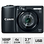 "Canon 6178B001 PowerShot A1300 Digital Camera - 16 MegaPixels, 1/2.3"" CCD Sensor, 2.7"" LCD, 4x Digital, SD Card Slot, USB, Black"