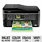 "Epson WorkForce 545 WiFi All-In-One Color Inkjet Printer - Scan, Copy, Fax, Up to 5760 x 1440dpi, USB 2.0, Ethernet, 2.5"" LCD Screen, AirPrint, Print from Mobile Device"