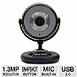 Gear Head WC740i Quick WebCam - 1.3 MP, USB 2.0, Built-in Microphone, Snapshot Button, PC and MAC Compatible, Plug-and-Play