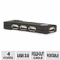 Gear Head UH2100 USB 2.0 Hub - 4 Port, 480Mbps, Built-In USB Cable