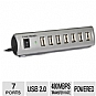 Gear Head UH7500ESP Energy Saving USB 2.0 Hub - 7 Ports, 480Mbps, Energy Saving Switch