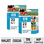 Alternate view 1 for HP 22 Tri-Color Inkjet Print Cartridge (2-Pack)
