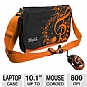 "Klip Xtreme KBU-3501O HIPSTER Case and Mouse Bundle - Fits Tablets or Netbooks up to 10.1"", 3D 3 Button Optical Mouse, USB, 800 DPI, Retractable Cable, Orange"