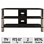 Alternate view 1 for Cravin TDLEB501B 50in wide Metal Glass TV Stand