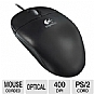Logitech 953695-0000 SBF-96 Optical Mouse - Wired, PS/2, 3 Buttons, 400 DPI, Black, OEM (Pack of 100) (Refurbished)