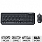 Microsoft 5MH-00001 Wired Desktop 400 for Business - USB, Spill Resistant Keyboard and Optical Mouse Combo, 800 dpi