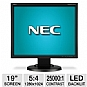 "NEC EA192M-BK 19"" Class Widescreen LED Monitor - 1280 x 1024, 5:4, 25000:1 Dynamic, 1000:1 Native, 5ms, DVI-D, DisplayPort, VGA, Energy Star (Refurbished)"