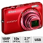 "Nikon Coolpix S6300 Digital Camera - 16 MegaPixels, 1/2.3"" CMOS Sensor, 2.7"" LCD, 10x Optical, 4x Digital, 25MB Internal, SD Card Slot, USB, Red"