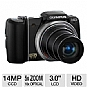 Olympus SZ-10 228730 Digital Camera - 14 MegaPixels, 18x Optical Zoom, 5x Digital Zoom, 3&quot; LCD, CCD Sensor, HD Video, Face Detection, Black (Refurbished)
