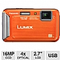 Panasonic DMC-TS20D Lumix Digital Camera - 16 Megapixels, 1/2.33&quot; CCD Sensor, 2.7&quot; LCD, 4x Optical, 4x Digital, Waterproof, Shockproof, Freezeproof, Dustproof, Orange (Refurbished)