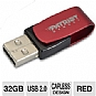 Patriot PSF32GAUSB Axle USB Flash Drive - 32GB, USB 2.0, Red