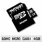 Patriot PSF4GMCSDHC43F Signature microSDHC Card - 4GB, Class 4, SD Adapter