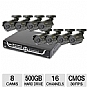 Q-See QS206-811-5 Surveillance System  - 16 Channel H.264 Network DVR, 500GB HDD, 8 CMOS  Cameras, USB