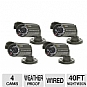 Q-See QSM1424C4 Surveillance Camera Kit -  4-Pack, CMOS, 400TVL, 40FT Night Vision, 3.6MM Lens