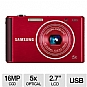 "Samsung ST76 Digital Camera - 16 MegaPixels, CCD Sensor, 2.7"" LCD, 5x Optical, 720p, 25mm Wide Angle Lens, MicroSD Slot, USB, Red (Refurbished)"