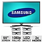 "Samsung UN55ES6580 55"" Class LED 3D HDTV - 1080p, 1920 x 1080, 120Hz, 7000000:1 Dynamic, Clear Motion Rate 480, HDMI, USB, Wi-Fi, Smart TV, 4x 3D Glasses and Web Camera Included (Refurbished)"