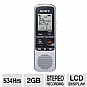 Sony ICDBX112 Digital Voice Recorder - Built-in 2GB Flash Memory, LCD Display, Voice Activated Recording (Refurbished)