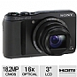 "Sony DSCHX20V Cyber-shot Digital Camera - 18.2 MegaPixels, 1/2.3"" CMOS Sensor, 3"" LCD, 16x Optical, HDMI, SD Card Slot, MS Duo, USB, Black (Refurbished)"