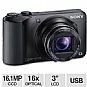 "Sony DSC-H90/B Cyber-shot Digital Camera - 16.1 Megapixels, CCD Sensor, 16x Optical Zoom, 3.0"" LCD, Black (Refurbished)"