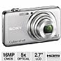 Sony DSCWX50 Cyber-shot WX50 Digital Camera - 16 MegaPixels, 1/2.3&quot; CMOS Sensor, 5X Optical, 2.7&quot; LCD, MS Duo, SD Card Slot, HDMI, USB, 3D Still and Panoramas, Silver (Refurbished)