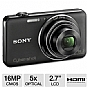 "Sony DSCWX50/B Cyber-shot WX50 Digital Camera - 16 MegaPixels, 1/2.3"" CMOS Sensor, 5X Optical, 2.7"" LCD, MS Duo, SD Card Slot, HDMI, USB, 3D Still and Panoramas, Black"