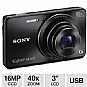 "Sony DSC-W690 Cyber-shot W690 Digital Camera - 16 MegaPixels, 1/2.3"" CCD Sensor, 3"" LCD, 5x Optical, 40x Digital, SD Card Slot, MS Duo, USB, Black (Refurbished)"