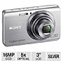 "Sony DSC-W650 Cyber-Shot W650 Digital Camera - 16 MegaPixels, 1/2.3"" CCD Sensor, 3"" LCD, 5x Optical, MS Duo, SD Card Slot, Silver"