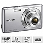 "Sony DSC-W620 Cyber-Shot W620 Digital Camera - 14 MegaPixels, 1/2.3"" CCD Sensor, 2.7"" LCD, 5X Optical, MS Duo, SD Card Slot, USB, Silver (Refurbished)"