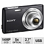 "Sony DSC-W620 Cyber-Shot W620 Digital Camera - 14 MegaPixels, 1/2.3"" CCD Sensor, 2.7"" LCD, 5X Optical, MS Duo, SD Card Slot, USB, Black (Refurbished)"