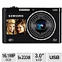 "Samsung DualView DV300F Digital Camera - 16 MegaPixels, 1/2.3"" CCD Sensor, 3"" Back LCD, 1.5"" Front LCD, 5x Digital, Micro SD Card Slot, USB, Black (Refurbished)"