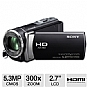 "Sony HDRCX190/B Full HD Digital Camcorder - 5.3 MegaPixels, 1080p, 1/5.8"" CMOS Sensor, 2.7"" LCD, 300x Digital, 25x Optical, Memory Stick, SD Card Slot, HDMI, USB, Black"