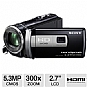 "Sony HDR-PJ200/B Full HD Camcorder with Projector - 5.3 MegaPixels, 1080p, 1/5.8"" CMOS Sensor, 2.7"" LCD, 300x Digital, 25x Optical, Memory Stick, SD Card Slot, HDMI, USB, Projector, Blac (Refurbished)"