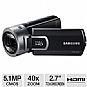 Samsung HMX-Q20BN Q20 HD Digital Camcorder - 5.1MP, 1/6.3&quot; CMOS Sensor, 2.7&quot; Touchscreen, 40x Digital, 20x Optical, SD Card Slot, HDMI, USB, SwitchGrip, Black (Refurbished)