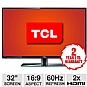 "TCL LE32HDF3300 32"" Class LED HDTV - 720p, 1366 x 768, 16:9, 60Hz, 100000:1 Dynamic, 20 ms, HDMI, USB, VGA, Energy Star"