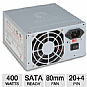 Coolmax 400-W Power Supply - V-400, 400-Watt, ATX, 80mm Fan, SATA-Ready, 20/24-Pin, Power Supply