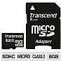 Transcend Flash memory card ( microSDHC to SD adapter included ) - 8 GB - Class 2 - (TS8GUSDHC2)