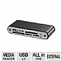 Ultra U12-40497 LeatherX All-in-One Mini Card Reader - USB 2.0, 480Mbps