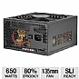 Ultra LSP650 650-Watt Power Supply - ATX, SATA-Ready, SLI-Ready, 135mm Fan, Sleeved Cables, Matte Finish  (Refurbished)