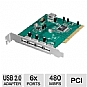 Ultra ULT40325 USB 2.0 PCI Card - 6 Port, Hi-Speed USB 2.0 (4 External / 2 Internal)