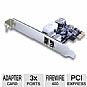 Alternate view 1 for Vantec 3 Port FireWire 400 PCIe Card 1 Int / 2 Ext