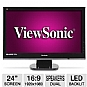 "ViewSonic VX2453mh-LED 24"" Class Flat Panel LED HD Monitor - 1920 x 1080, 1000:1 Native, 16:9, 30000000:1 Dynamic, 2ms, 2 HDMI, VGA, Bookstand Option, Black"