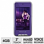 "Visual Land ME-965L-4GB-PRP V-Touch Pro MP4 Player - 4GB, 3"" Touchscreen, 2 Megapixel Camera, Built-in Speaker, FM Radio, Built-in Microphone, Voice Recorder, Purple"