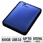 WD My Passport WDBKXH5000ABL-NESN 500GB Portable Hard Drive - USB 3.0/2.0, Backup Software & Encryption, Blue