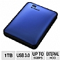 WD My Passport 1TB Portable Hard Drive - USB 3.0/2.0, Backup Software & Encryption - WDBBEP0010BBL-NESN