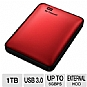 WD My Passport 1TB Portable Hard Drive - USB 3.0/2.0 - Backup Software & Encryption - WDBBEP0010BRD-NESN